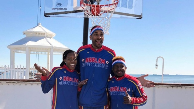 Harlem Globetrotters + Queen Mary = Amazing Trick Shots