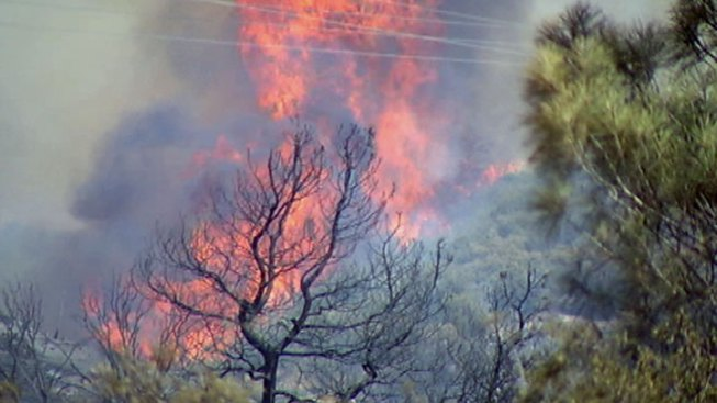 Fire Burning in Angeles National Forest Near Gorman