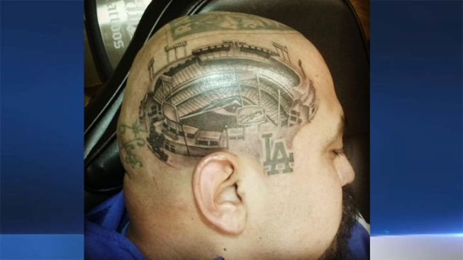 Fan Gets Detailed Dodger Stadium Tattoo On His Head Nbc Southern