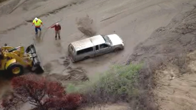 Pickup Truck Stuck in Mudflow in Lake Hughes Area