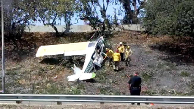 Small Plane Crashes on 405 Freeway Embankment in Long Beach