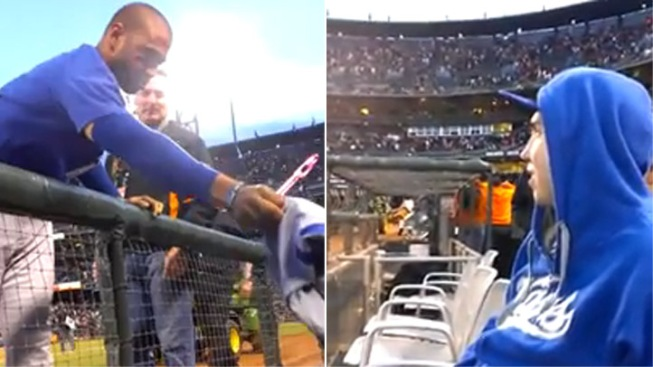 Watch: Dodgers' Matt Kemp Gives Jersey Off His Back to Fan