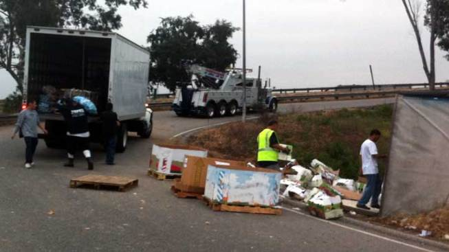 Onion Truck Overturns on 710 Freeway Ramp