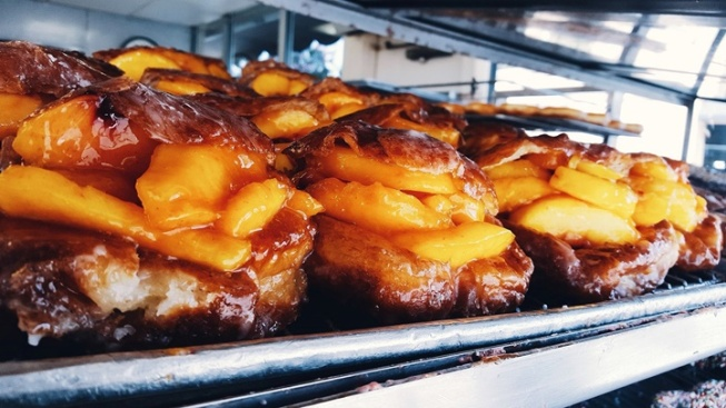Peach Doughnut Time at The Donut Man
