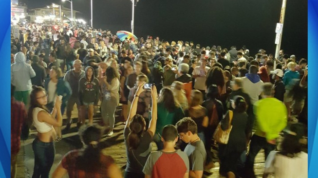 Catch 'Em All: Massive Crowd at Santa Monica Pier Playing 'Pokemon Go'