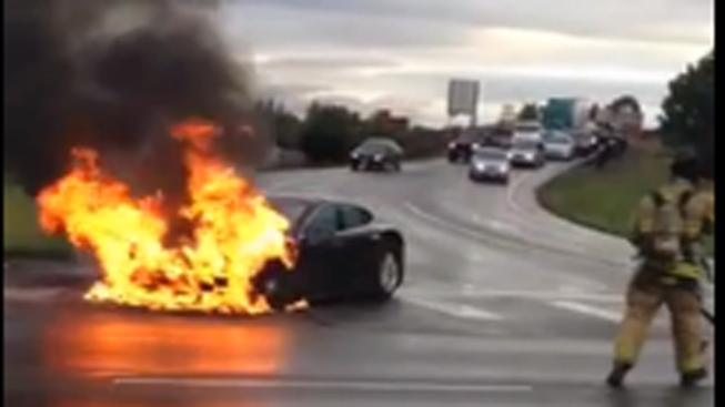 Tesla Car Fire Causes Stock Slide