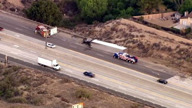 Overturned Big Rig Blocks Lanes on 14 Freeway in Canyon Country