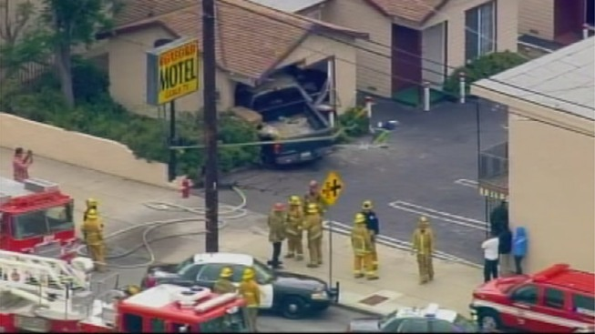 Truck Crashes Into Sylmar Motel; Four Injured