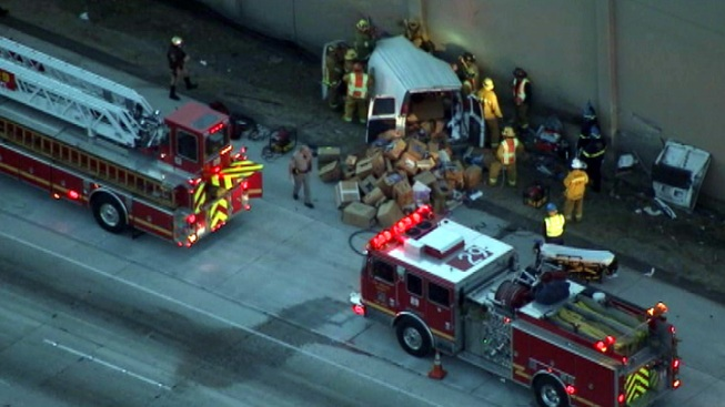 Van Crashes Into Building on 10 Freeway in Baldwin Park