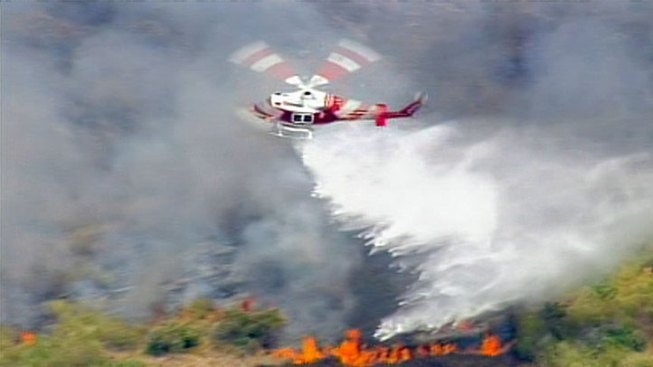 Brush Fire Spreads in Carbon Canyon