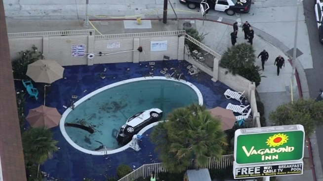 8 Injured After Car Crashes Into Motel Swimming Pool Nbc