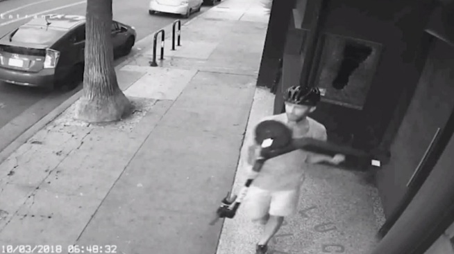 Surveillance Video Shows Man Breaking Window With Scooter in Venice