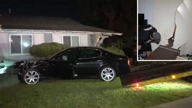 Car Thief Crashes a Maserati Into Anaheim Home
