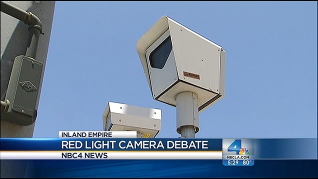 Riverside city councilmember Paul Davis says he welcomes a reevaluation of his city's red light cameras, the money from which could employ three traffic officers, he says. A council vote is expected within a few months and a majority vote could mean lights out for the cameras. Craig Fiegener reports from Riverside for the NBC4 News at 5 p.m. on June 20, 2012.
