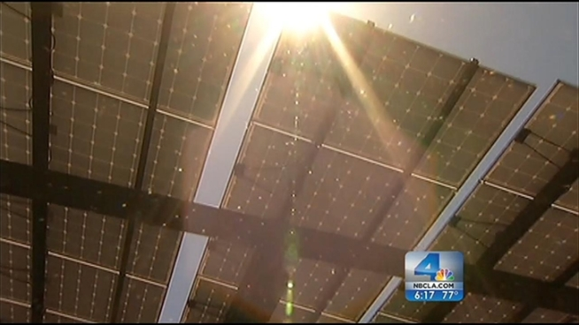 The non-profit, CALSTART, unveiled an 84.5 kilowatt solar array at its Chester Avenue headquarters in Pasadena Monday. CALSTART works with companies to help them find cleaner transportation options, electric fleet cars and hybrid trucks, to name a few. Project manager Jean-Baptiste Gallo says the building has energy leftover to sell back to the utility. Gordon Tokumatsu reports from Pasadena for the NBC4 News at 6 p.m. on June 25, 2012.