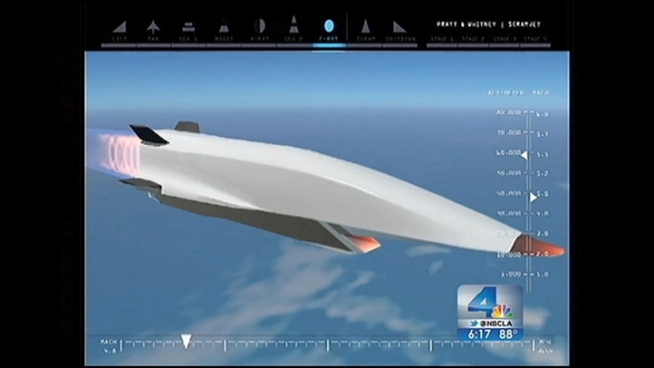 The WaveRider X-51A is designed to achieve Mach 6 -- six times the speed of sound -- and last longer than its hypersonic predecessors. It's set to flight off Southern California Tuesday, Aug. 14. Conan Nolan reports for NBC4 News at 6 p.m. on August 13, 2012.