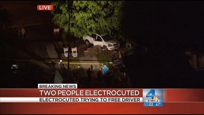 Two women were electrocuted Wednesday night after apparently trying to help the driver of a car who slammed his vehicle into a fire hydrant and a utility pole. The downed power lines electrified the water from the gushing hydrant. Alex Calder reports from News Chopper 4 above Valley Village for the NBC4 News at 11 p.m. on Aug. 22, 2012.
