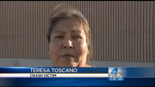 Teresa Toscano recalls what happened when the pick-up truck she was driving with her 4-year-old nephew inside was rear ended and smashed into a big-rig. The chain-reaction crash shut down the 5 Freeway in both directions in Burbank on Friday. The closure led to a massive traffic backup, but no one was injured. Kim Baldonado reports for the NBC4 News at 11 p.m. on Friday, August 24, 2012.
