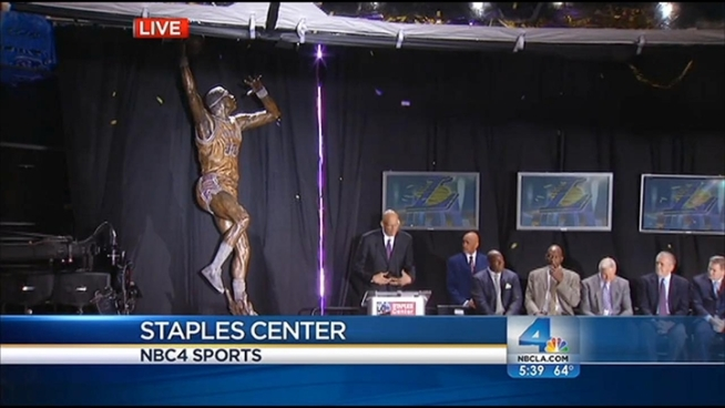Kareem Abdul-Jabbar was honored Friday night at Staples Center with his very own statue in which he's depicted gliding through the air in his signature move, the sky hook. Mario Solis reports from the Staples Center in Los Angeles for the NBC4 News at 5 p.m. on Nov. 16, 2012.