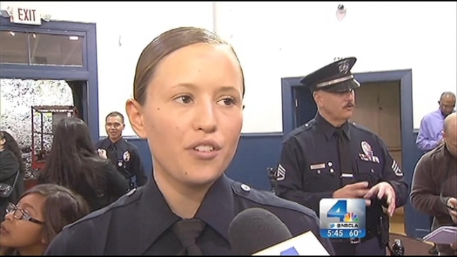 Friday was graduation day for the LAPD. Samantha Barnhart was among the graduates, and she is following in her father's footsteps to become a Los Angeles police officer. John Cádiz Klemack reports from the LAPD Police Academy for the NBC4 News at 5 p.m. on January 25, 2013.