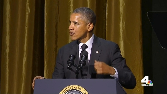 President Barack Obama was front and center at a star-studded event at Century Plaza Hotel during his visit to Southern California. Beverly White reports from Century City for the NBC4 News at 11 on Wednesday, May 7, 2014.