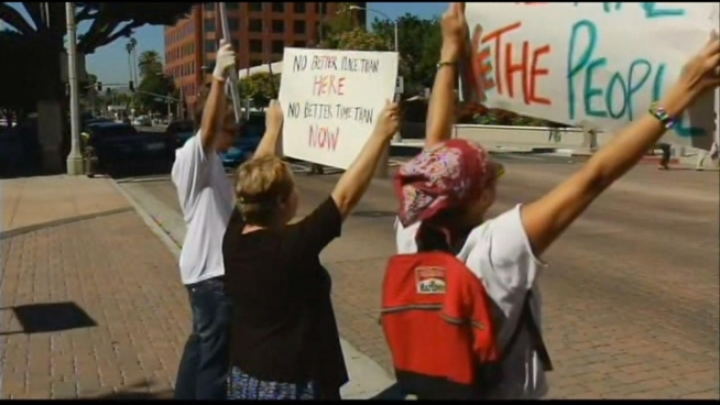 Over the weekend, a group of Occupy Riverside activists started hanging out on the mall in downtown Riverside. At times the crowd was estimated at 200 people.