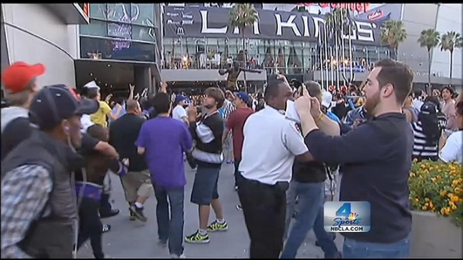 LAPD was out in full force in Downtown LA following the LA Kings' Stanley Cup victory, but police say with six arrests total, the reveling fans were peaceful, respectful and celebrated with class. Robert Kovacik reports from outside Staples Center for the NBC4 News at 11 p.m. on June 11, 2012.