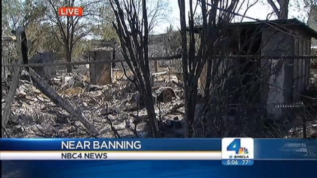 The Silver Fire, still burning in Riverside County, devastated a neighborhood in rural Poppet Flats. Evacuation orders for the community were lifted Friday night, but some residents do not have homes to which they can return. Jacob Rascon reports from Poppet Flats for the NBC4 News at 5 and 6 p.m. on Aug. 9, 2013.