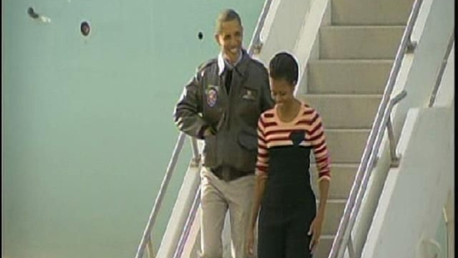 Members of the armed forces anticipated President Obama's arrival. Lea Sutton reports.