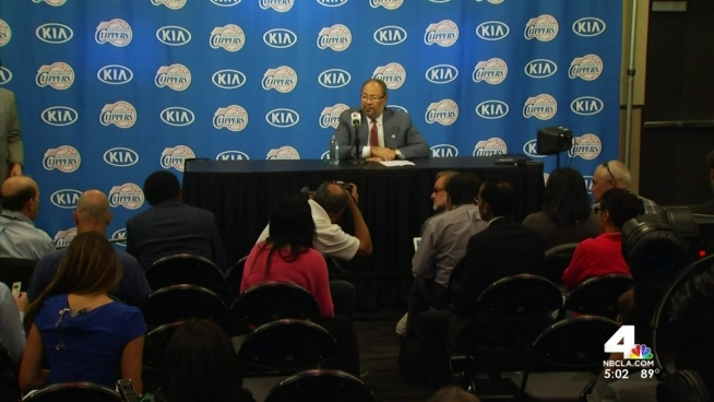 The Los Angeles Clippers officially introduced their new interim CEO on Monday, two weeks after owner Donald Sterling's racist comments surfaced. Patrick Healy reports from Staples Center for the NBC4 News at 5 p.m. on Monday, May 12, 2014.