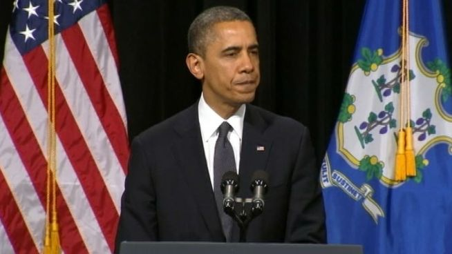 President Obama promises action during ceremony honoring victims of the Newtown shooting.