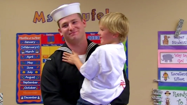 After a long deployment, 3rd Class Petty Officer Cameron Griggs had his highly-anticipated homecoming, reuniting with his 5-year-old son and wife, who is 8 months pregnant. NBC 7
