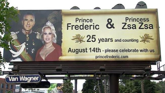 Zsa Zsa Gabor and Frederic von Anhalt's billboard is located at 8789 Sunset Blvd.