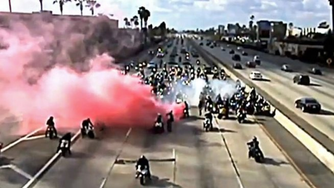More Than 300 Motorcycles Shut Down Freeway for Marriage Proposal