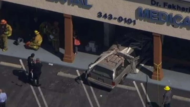 An 82-year-old driver slammed her station wagon into a dentist office and injured three and sent another three to the hospital, at least two of whom underwent surgery Thursday afternoon. Patrick Healy reports from Reseda for the NBC4 News at 5 and 6 p.m. on April 19, 2012.