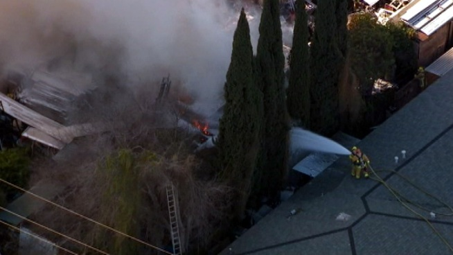 Fire Burns in Montebello Neighborhood