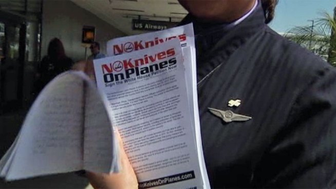 Flight attendants handed out flyers at Los Angeles International Airport on Thursday in an effort to get public support to stop a TSA policy change that will small knives and other formerly banned items on flights. Hetty Chang reports from LAX for the NBC4 News at 5 p.m. on March 21, 2013.