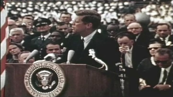 On Sept. 12, 1963, President John F. Kennedy made a pledge: By the end of the decade, the United States would put a man on the moon. He made the pledge in a famous speech at Rice University, in Houston, Texas.