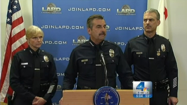 LAPD Chief Charlie Beck held a news conference Thursday to address the manhunt for ex-LAPD officer Christopher Dorner, who is accused of murdering a Riverside police officer and a couple from Irvine. Investigators believe Dorner may be seeking revenge for being fired from the force. John Cádiz Klemack reports from Downtown LA for the NBC4 News at 5 p.m. on Feb. 7, 2013.