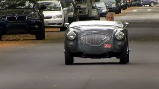 John Nikas is driving a 1953 Austin Healy across the country in an attempt to