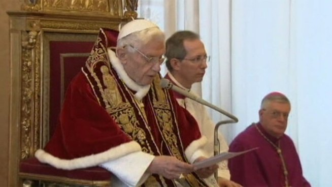 Pope Benedict XVI announced Monday he will abdicate his position as spiritual leader of the Catholic Church in 14 days, saying he doesn't have the strength to carry on. Local Catholics say they are saddened and shocked by the sudden decision. Patrick Healy reports from downtown LA for the NBC4 News at 5 p.m. on Feb. 11, 2013.
