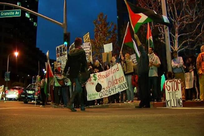 The Israeli Consulate in West Los Angeles became the local hub for protest in the latest Mideast conflict. Kim Baldonado reports for the NBC4 News at 11 p.m. on Nov. 15, 2012