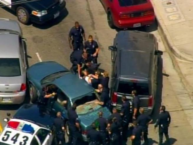 Watch condensed video of a police pursuit that ended in the USC area.
