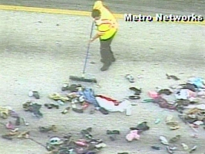 Thousands of shoes were strewn across a highway in Miami Friday morning.