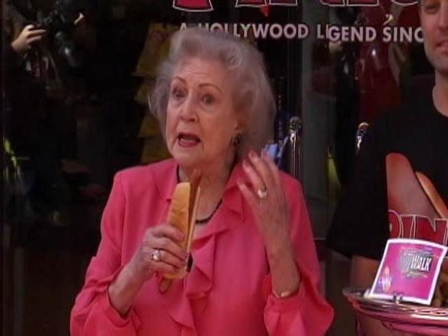 Pink's honors the 88-year-old actress with her own hot dog.