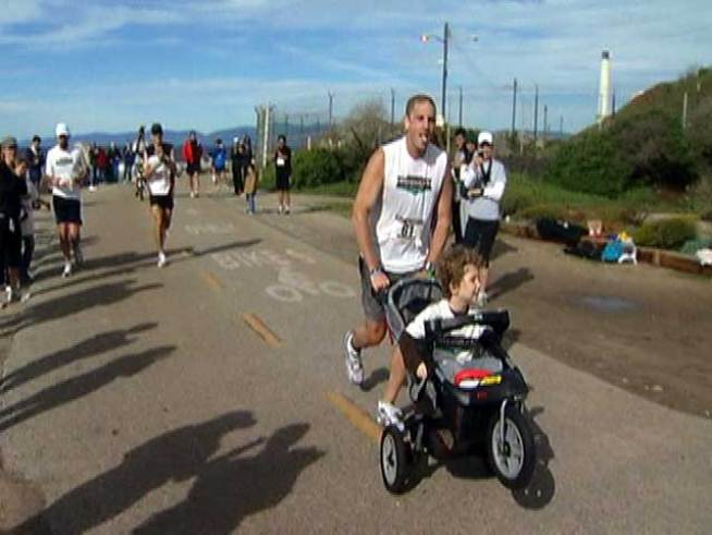 He's faced more than 26 miles of challenges in each city, all for a good cause.