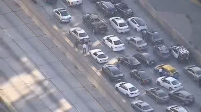 Police Activity Shuts Down 110 Freeway in Downtown LA - NBC