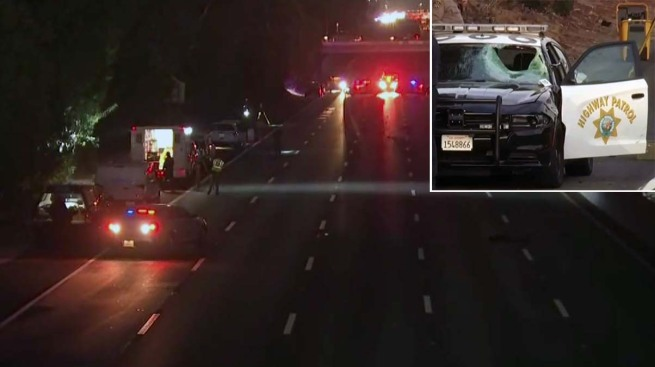 Uber Passenger Struck by Patrol Vehicle After Jumping Over 101 Freeway Median, CHP Says