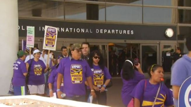 Eight Arrested in LAX Labor Demonstration Over Wage Negotiations