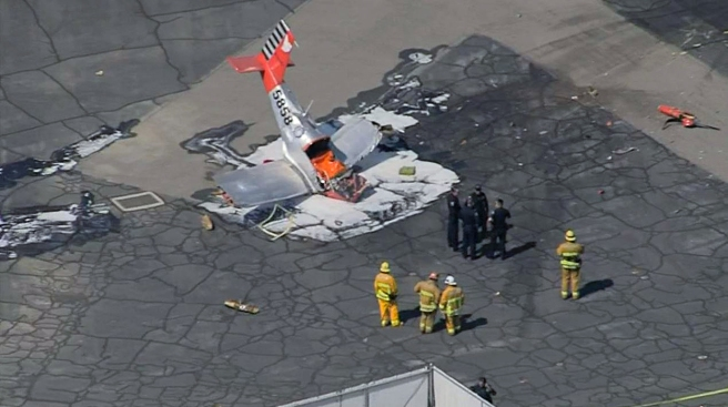 Pilot killed after plane crashes at Los Angeles-area airport